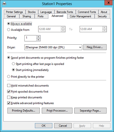 Configuring a Zebra thermal printer in WithoutWire